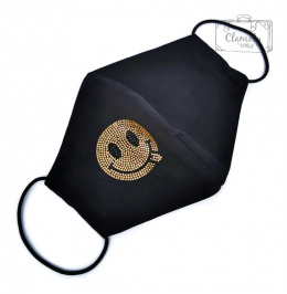 COTTON PROTECTIVE MASK BLACK GOLDEN DIAMOND SMILING BUCKLE WITH TONGUE